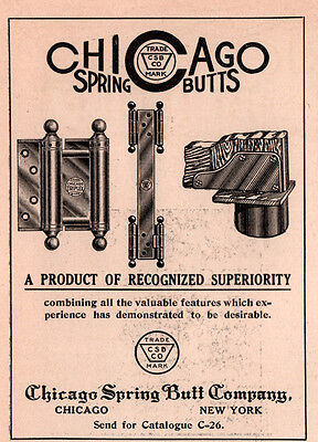 AD LOT OF 5 1909-1915 C ADS CHICAGO SPRING BUTT CO HARDWARE hinges