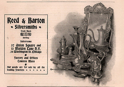 Ad Lot Of 2 1896 A - Early 1900 's Ads Reed And Barton Wedding Silver Sterling