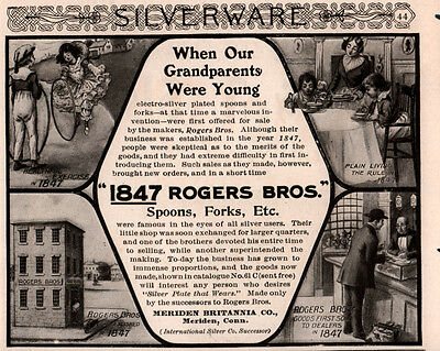 Ad Lot Of 3 Early 1900's Ads 1847 Rogers Silver Polk To Roosevelt Photos
