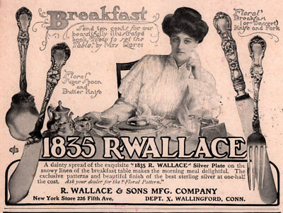 Ad Lot Of 4 1904 A -  Early 1900 's Wallace Silver Ads 1835 Floral Mrs Rorer