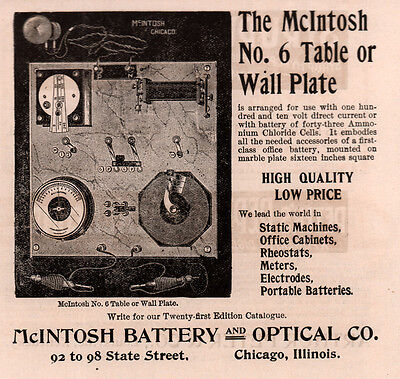 Ad Lot Of 2 1899-00 Mcintosh Battery Optical No 6 Table Wall Dr Quack Electric