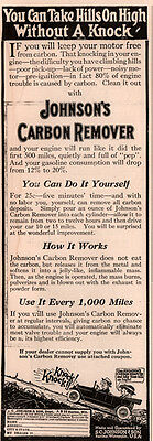 Ad Lot Of 2 1917 Ads Johnsons Carbon Remover Black Plague Death Take A Hill