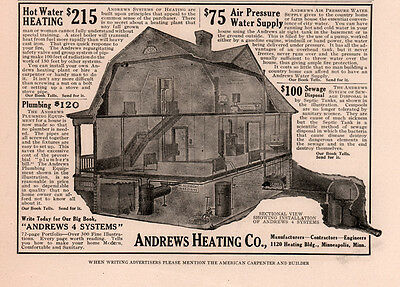 Ad Lot  2 1915 B Ads Andrews Heating Co Interior Diagram Water Pressure Sewage