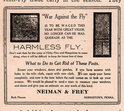 1914  Ad  War On Fly Screen Neiman Frey Norristown Pa Hardware