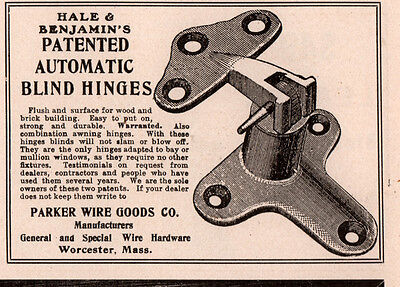 1906  A Ad Hale And Benjamin Auto Blind Hinges Parker Wire Goods Co