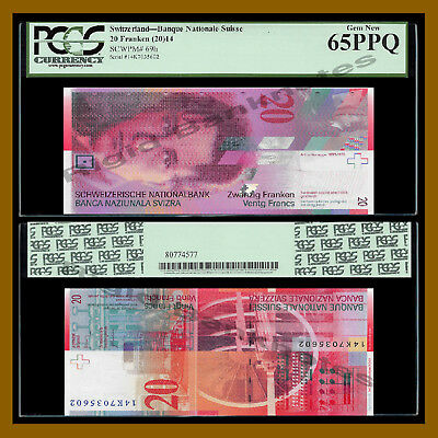 Switzerland 20 Francs, 2014 P-69h PCGS 65 PPQ