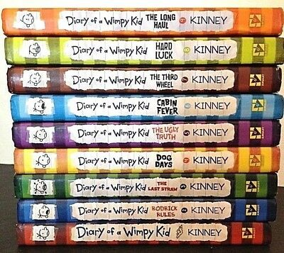 Lot of 9 (#1-9) DIARY OF A WIMPY KID Series Matched Set of HARDCOVER Books