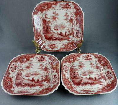 """3 Square Red Transfer Scenic Dishes - Reproduction 2 Rampant Lions Mark 4.75"""""""