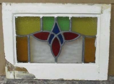 "OLD ENGLISH LEADED STAINED GLASS WINDOW Colorful Floral 17.5"" x 13"""