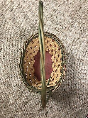 Vintage 1950's Woven Easter Basket with Wooden Bottom