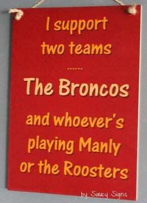 Brisbane Broncos versus Manly & Roosters Wooden Rugby League Sign Signs Jerseys