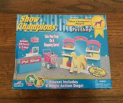 Show Champions Pet Shop Playset By Empire 1998 Jack Russell Terrier/Afghan - New