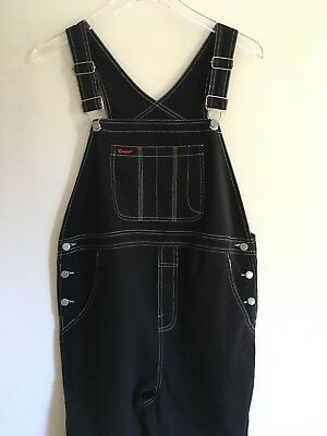 Motherhood Maternity 90s Black Cotton Overalls Loose Leg White Stitch Size Small