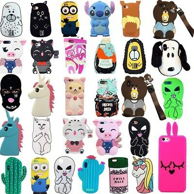 3D Animal Cartoon Shockproof Silicone Soft Back Case Cover For iPhone X 8 7 Plus