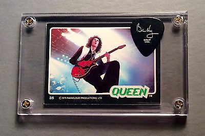 Nice Queen Brian May silver on black guitar pick / 1979 Donruss card #35 display
