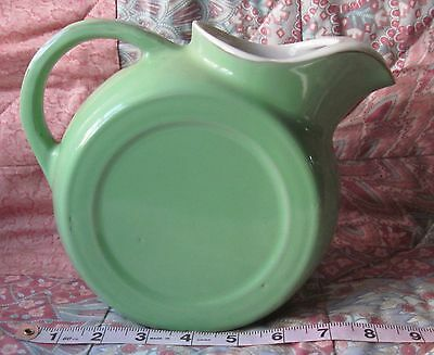 Vtg. Coorsite Disk Pitcher/Green/1930s