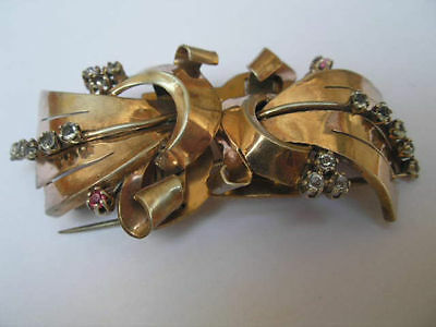 Important Art Deco  1930, 900 Silver, 18 K Gold Plated Brocch & Two Dress Clip