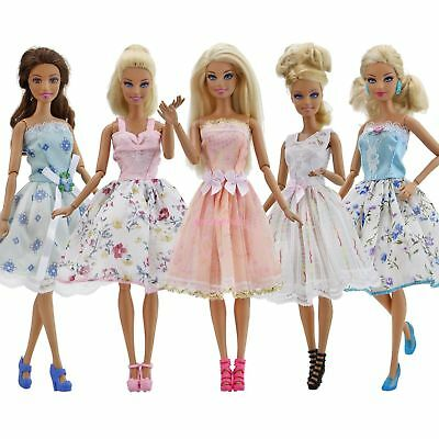5 Sets Fashion Colorful Mini Dresses & 5 Shoes Clothes For Barbie Doll Toy Gift