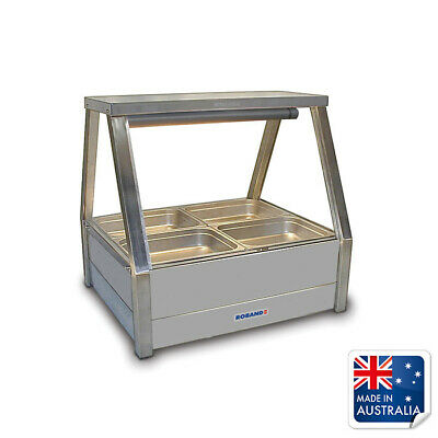 Bain Marie / Hot Food Display Angled Double Row with 4x 1/2  Pans Roband E22