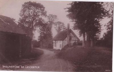 RP BRAUNSTONE VILLAGE STREET SCENE NR LEICESTER  REAL PHOTO c1920