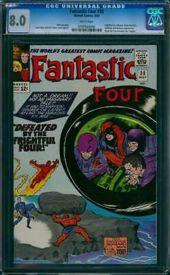 Fantastic Four # 38  Defeated by the Frightful Four !  CGC 8.0 scarce book !