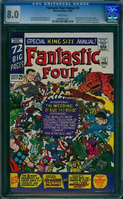 Fantastic Four Annual # 3  The Wedding of Sue and Reed !  CGC 8.0 scarce book !