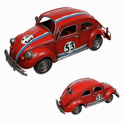 Red Tin Model Beetle Herbie Car Collectable, New Boxed