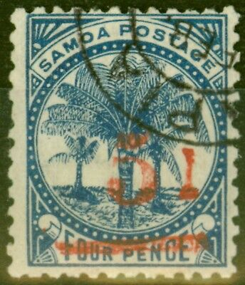 Samoa 1893 5d on 4d Blue SG70var Broken d Fine Used
