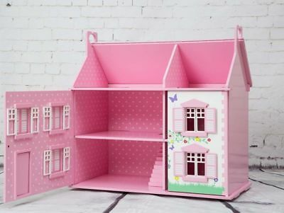 Pink Wooden Dolls House Cottage Style Decorated Rooms Floors Roof Panel UK Play