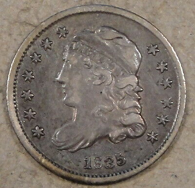 1835 Small Date Small 5 Capped Bust Half Dime XF