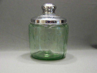 Hocking cameo green depression glass jar with metal replacement lid