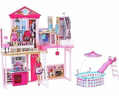 Barbie Complete Home Set 3 Dolls House & Glam Pool Kids Girls Pink Toy Playset