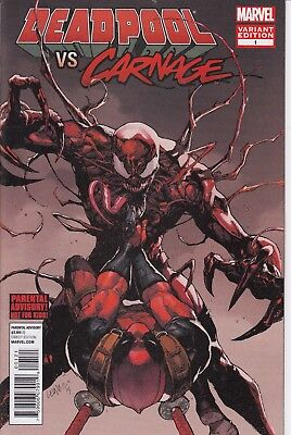 DEADPOOL VS CARNAGE 1 ....NM-...2014...Variant Cover. . Bargain!