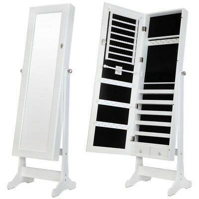 Homegear Modern Free Standing Jewellery Cabinet / Full Length Bedroom Mirror