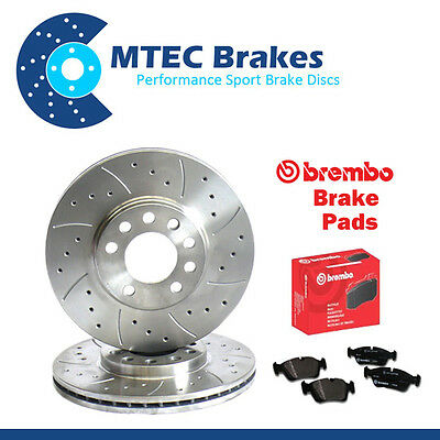 BMW E46 320Cd 10/03-02/07 Rear Drilled & Grooved Brake Discs & Brembo Pads