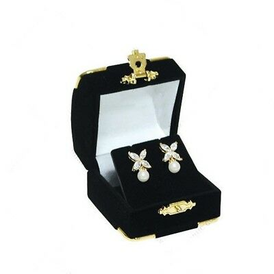 24 Black Velvet & Brass Accent Earring Jewelry Display Presentation Gift Boxes