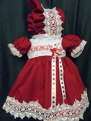 Dream Baby Xmas Red Guipure Dress  Bonnet Nb 0-3 3-6 6-12 Months Or Reborn Dolls