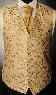 Cw36. Mens/boys Gold Regal Swirl Waistcoat / Dress/ Suit / Party / Formal
