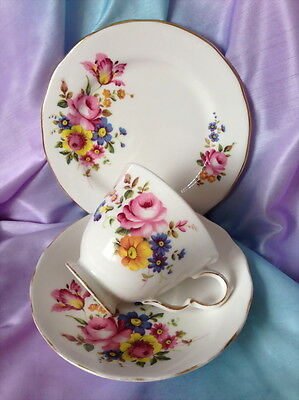 ♡  Royal Kent Trio Tea Cup Saucer Side Plate White Floral