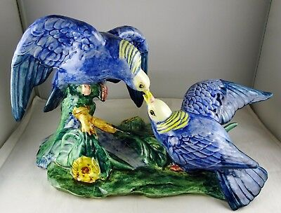 Stangl Pottery White Crowned Pigeons #3518D Excellent Condition Vibrant Colors