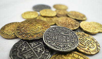 Collection of 20 Spanish Armada Gold/Silver Doubloons/Coins/Pirates/Treasure