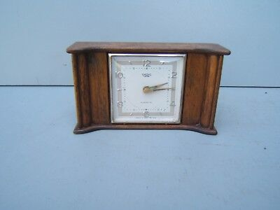 "Mantel clock vintage Smiths Empire Alarmette Mahogany 3"" high x 5.25"" wide  M20"