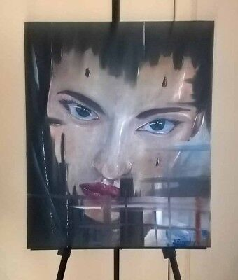 """Original abstract oil painting 20"""" x 24"""" portrait by the artist Kevin Richards"""