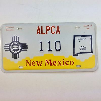 New Mexico 1987 State Outline Old License Plate Garage Special Event Alpca Conv