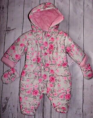 Chloe Louise Baby Girls Romany Style Snowsuit Pramsuit Roses & Bows Design AW'17