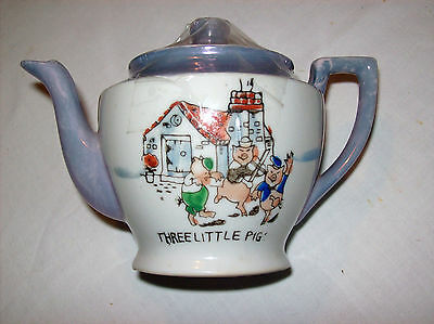 Three Little Pigs circa 1930's Teapot excellent condition