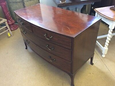 Mahogany Chest Of Drawers With Original Brass Handles 4 Drawers splayed bracket