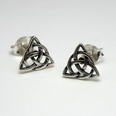 925 Sterling Silver Stud Earrings Celtic Triquetra Trinity Knot New inc Gift Bag