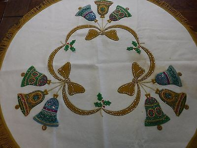 """Vintage Christmas Felt Tablecloth Bells Sequins Round 41""""-45"""" As Is"""