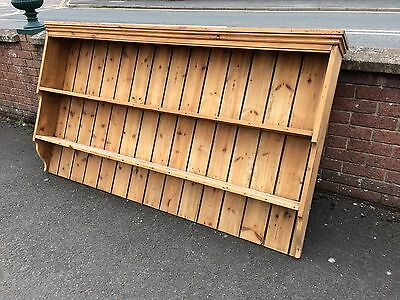 Antique large pine wall rack plate rack striped and waxed loads of storage